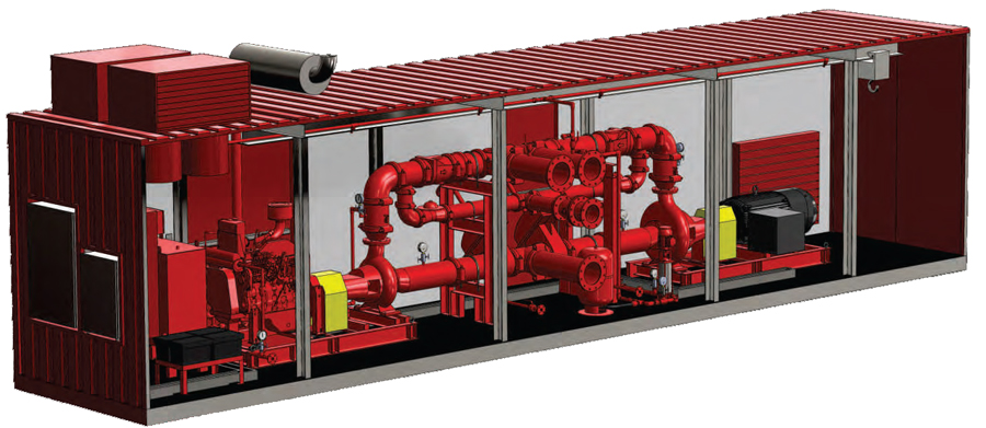 Containerised Electric and Diesel Fire Pump
