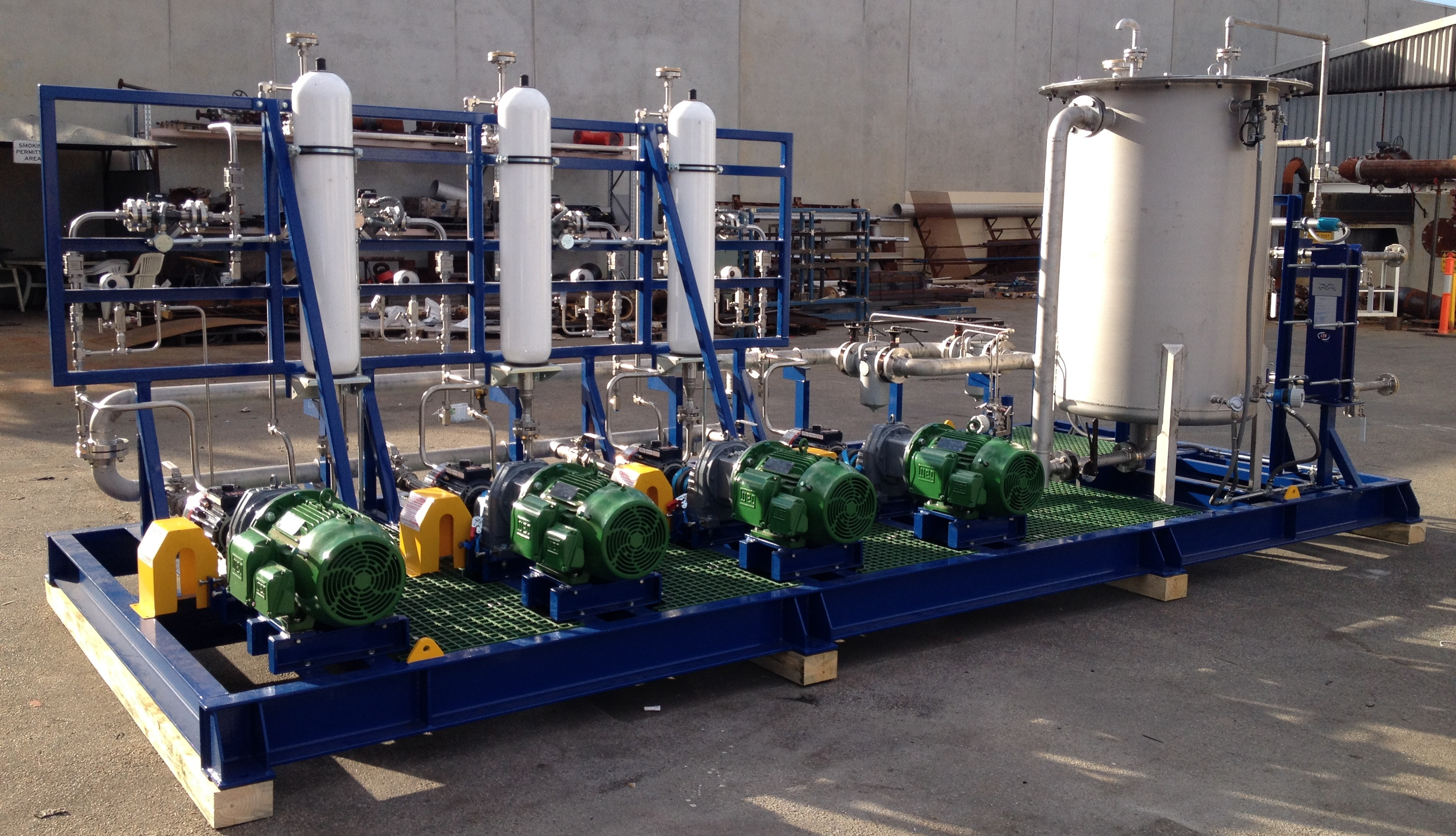 Seal water multi pump skids to support main ore slurry pumps dynapumps also supplied 2 off 35kw chillers as part of this package to provide cooling water to the seal water systems which are located in the remote ccuart Images